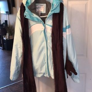 Large blue Maurices coat, scarf, gloves